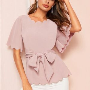 Tops - NWOT Pink Scallop Top with Belt 🎀